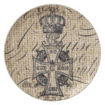 vintage cross and crown design on burlap backgroun melamine plate
