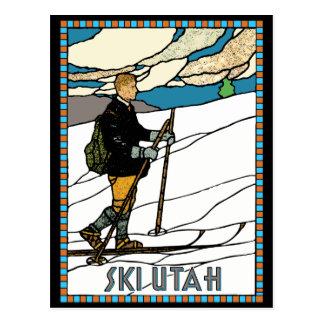 Vintage Cross Country Ski Utah Postcard