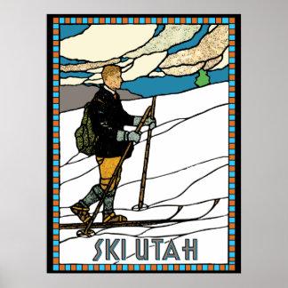 Vintage Cross Country Skier Ski Utah Poster