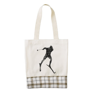 Vintage Cross Country Skier Zazzle HEART Tote Bag