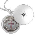 Vintage Cross Round Locket Necklace