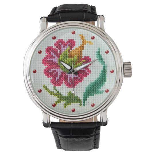 Vintage cross stitch embroidered fantasy flower 2 wrist watch