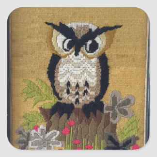 Vintage Cross Stitch Owl 1970s Stickers