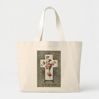 Vintage Cross with English Daisies Large Tote Bag