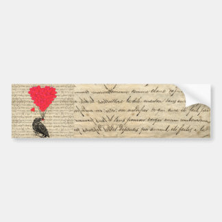Vintage Crow and heart shaped balloons Bumper Sticker