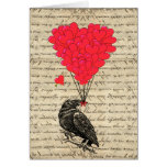 Vintage Crow and heart shaped balloons Greeting Cards