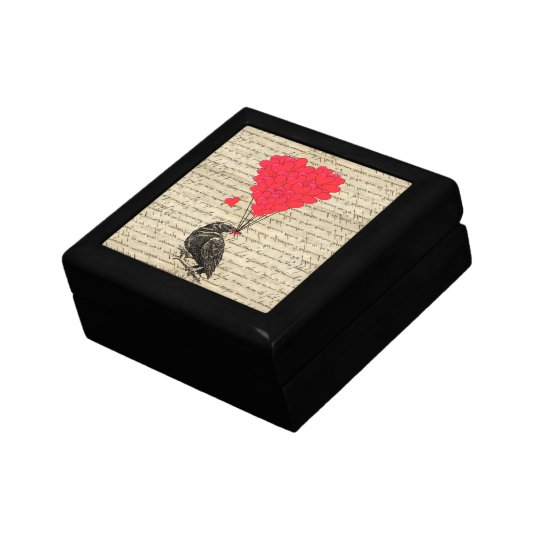 Vintage Crow and heart shaped balloons Jewelry Box