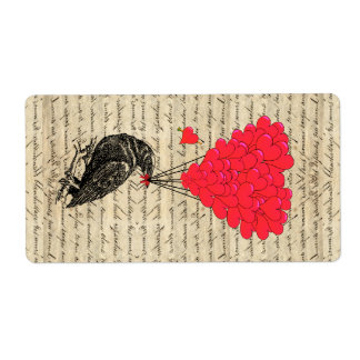 Vintage Crow and heart shaped balloons Label