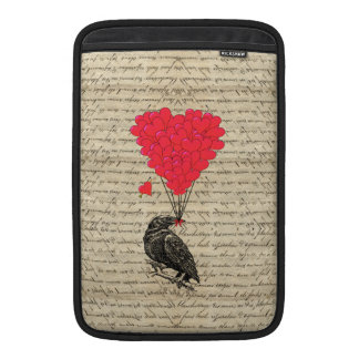 Vintage Crow and heart shaped balloons MacBook Sleeves