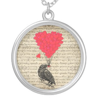 Vintage Crow and heart shaped balloons Custom Jewelry