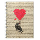 Vintage Crow and heart shaped balloons Spiral Note Book