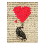 Vintage Crow and heart shaped balloons Post Card
