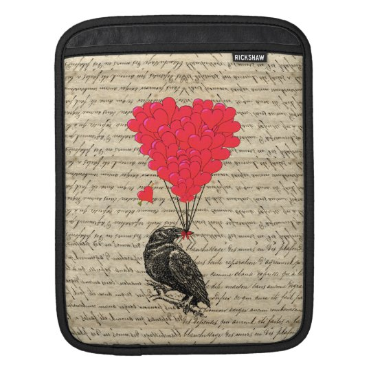 Vintage Crow and heart shaped balloons Sleeve For iPads