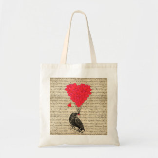 Vintage Crow and heart shaped balloons Tote Bag