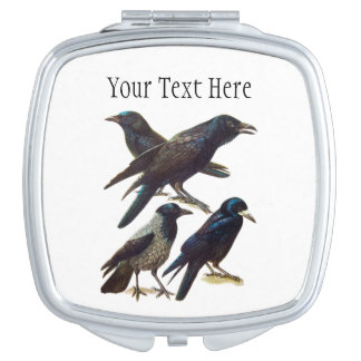 Vintage Crow and Raven Collage, Black Birds Makeup Mirror