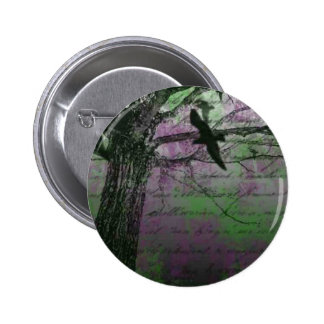 Vintage crow image in front of wall pinback button