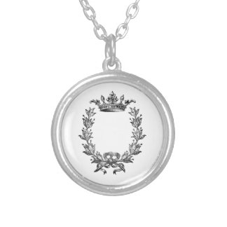 Vintage Crown and Wreath Art Silver Plated Necklace