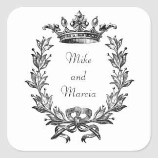 Vintage Crown and Wreath Art Square Stickers