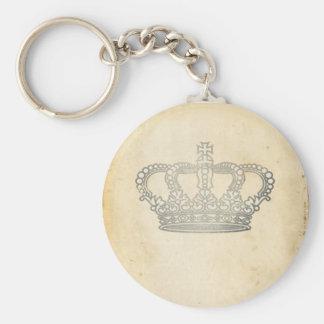 Vintage Crown Basic Round Button Keychain
