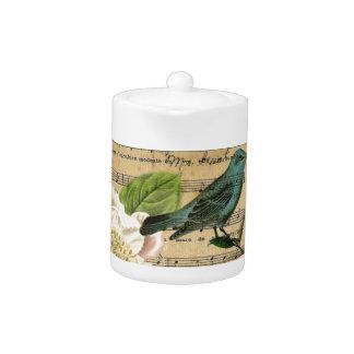 vintage crown bird Music Notes french botanical Teapot