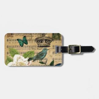 vintage crown bird Music Notes white Rose Bag Tag