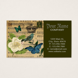 vintage crown bird Music Notes white Rose Business Card