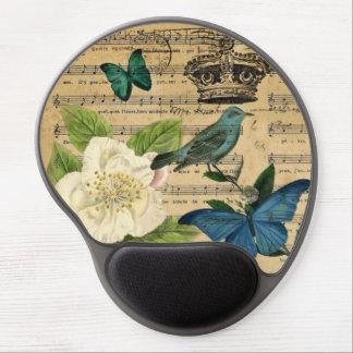 vintage crown bird Music Notes white Rose Gel Mouse Pad