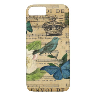 vintage crown bird Music Notes white Rose iPhone 8/7 Case