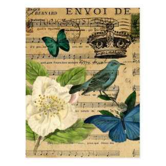 vintage crown bird Music Notes white Rose Postcard