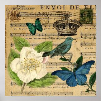 vintage crown bird Music Notes white Rose Poster