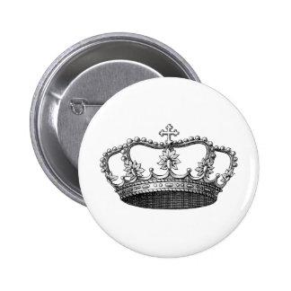 Vintage Crown Black and White 2 Inch Round Button