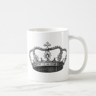 Vintage Crown Black and White Coffee Mug