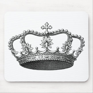 Vintage Crown Black and White Mouse Pad
