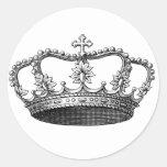 Vintage Crown Black and White Round Sticker
