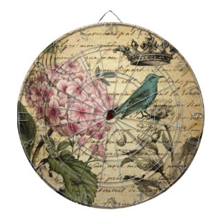 Vintage crown botanical art hydrangea french bird dartboard