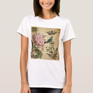 Vintage crown botanical art hydrangea french bird T-Shirt