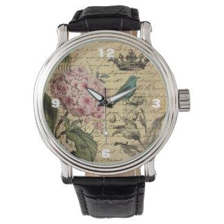 Vintage crown botanical art hydrangea french bird wrist watch