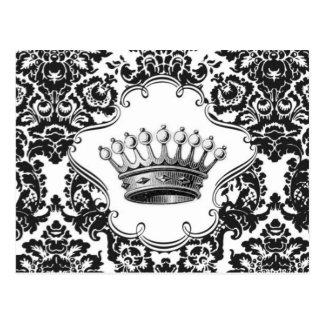 Vintage crown damask postcard
