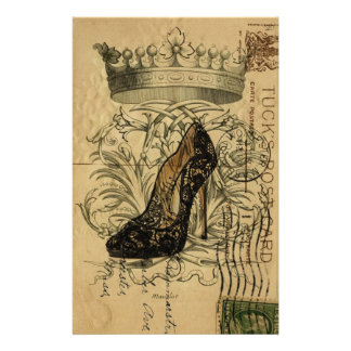 vintage crown fashion queen stiletto stationery