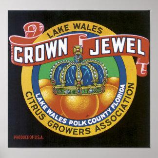 Vintage Crown Jewel Label Poster