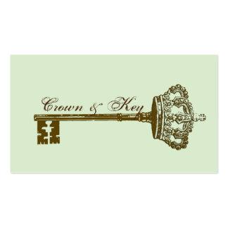 Vintage Crown & Key Elegant Business Cards Aqua