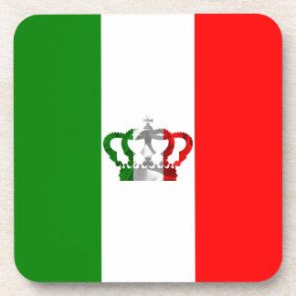 Vintage Crown Modern Italy Italian Flag Drink Coaster