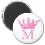 Vintage Crown Monogram 2 Inch Round Magnet