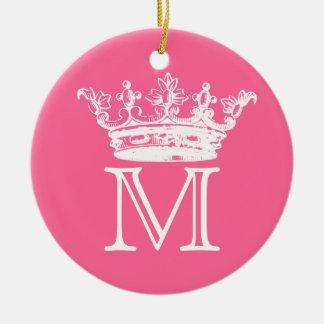 Vintage Crown Monogram Ceramic Ornament