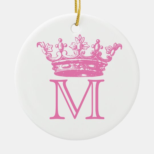 Vintage Crown Monogram Ceramic Ornament