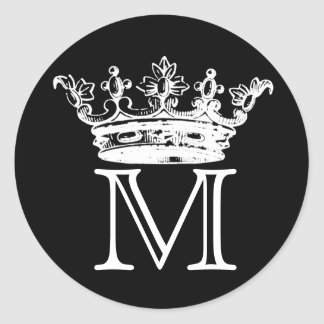Vintage Crown Monogram Classic Round Sticker