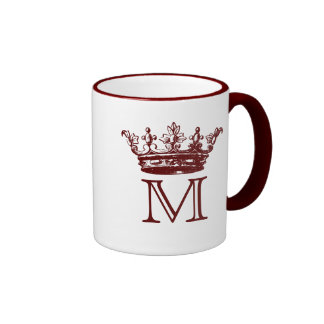Vintage Crown Monogram Ringer Mug