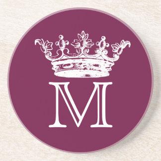 Vintage Crown Monogram Sandstone Coaster