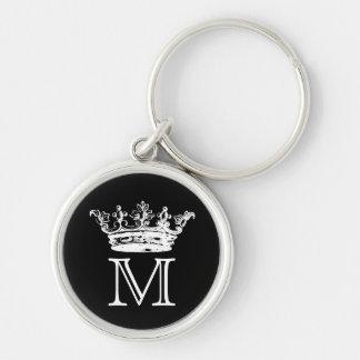 Vintage Crown Monogram Silver-Colored Round Keychain