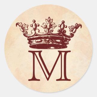 Vintage Crown Monogram Round Stickers